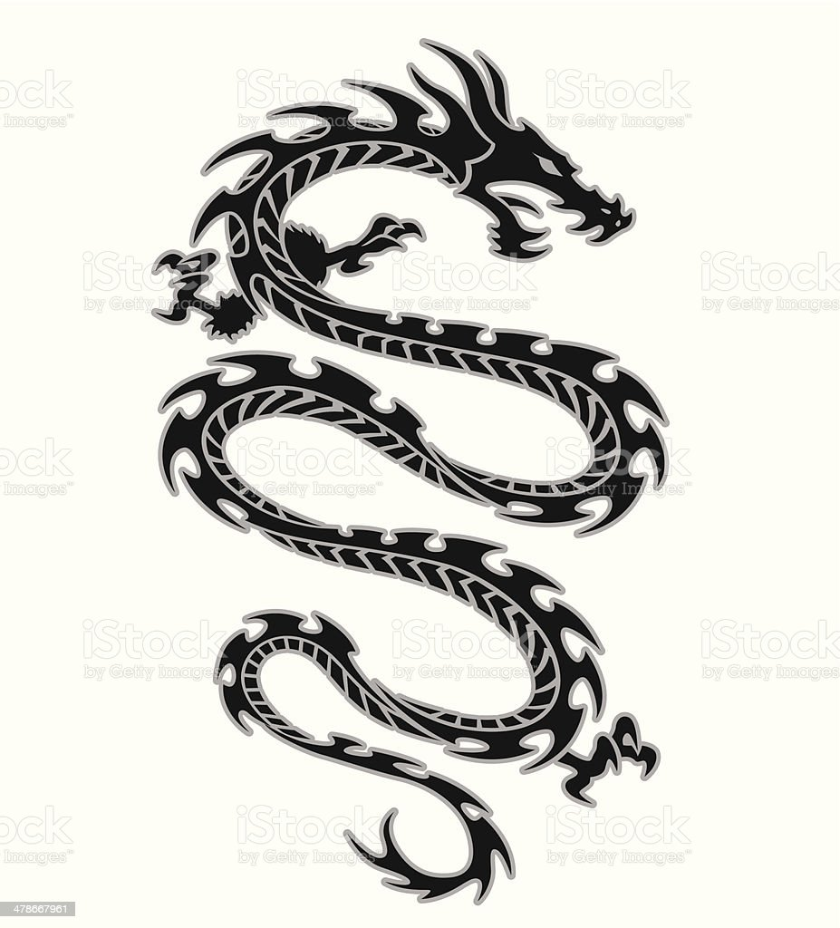 Tribal Dragon Tattoo Design Stock Illustration Download Image Now Istock