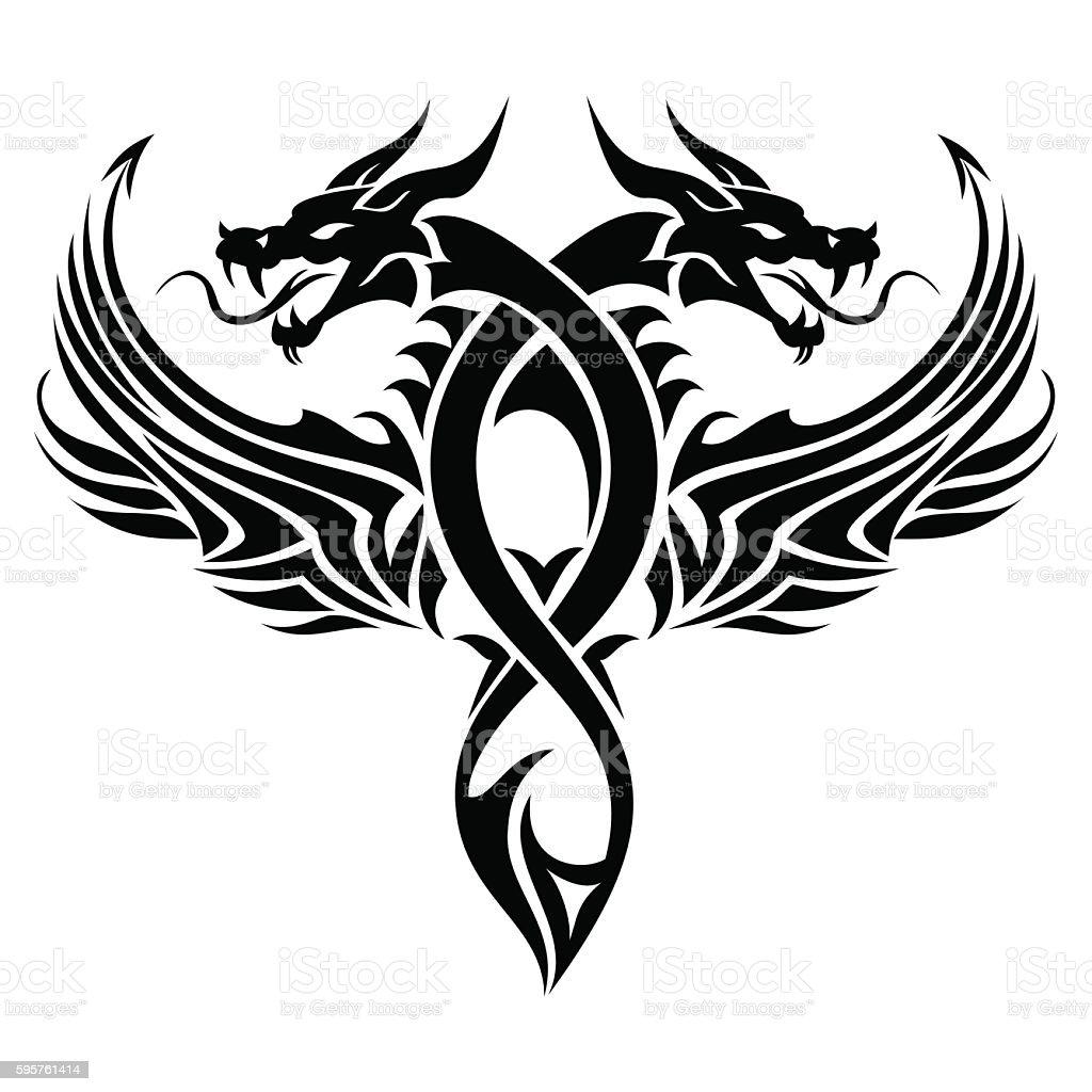 tatouage tribal dragon cliparts vectoriels et plus d. Black Bedroom Furniture Sets. Home Design Ideas