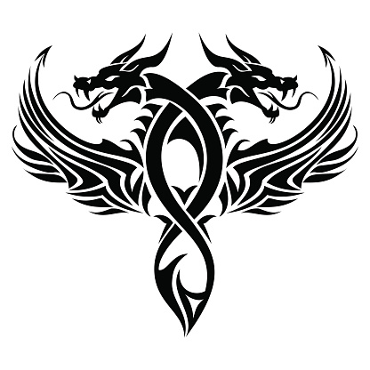 Dragon Tattoo Tribal Stock Vektor Art und mehr Bilder von Art Deco