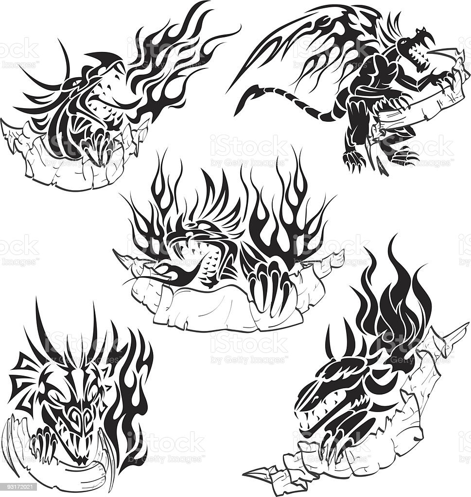 Tribal dragons with labels royalty-free stock vector art