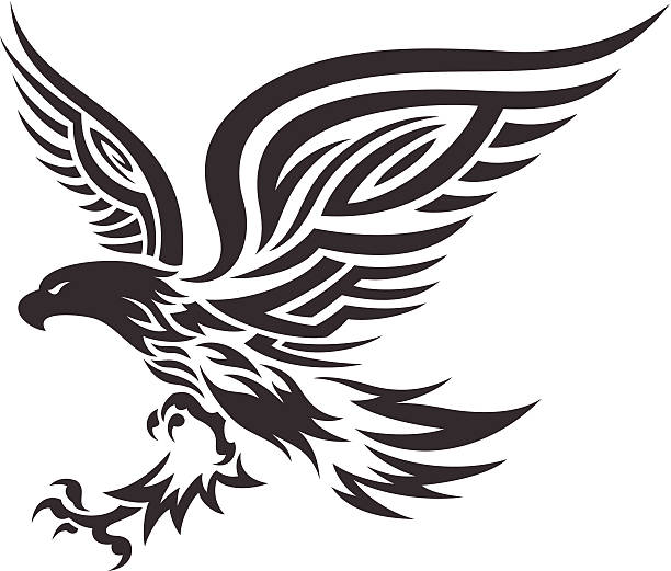 tribal eagle - tribal tattoos stock illustrations, clip art, cartoons, & icons