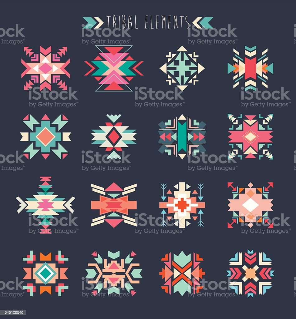 Tribal elements set vector art illustration