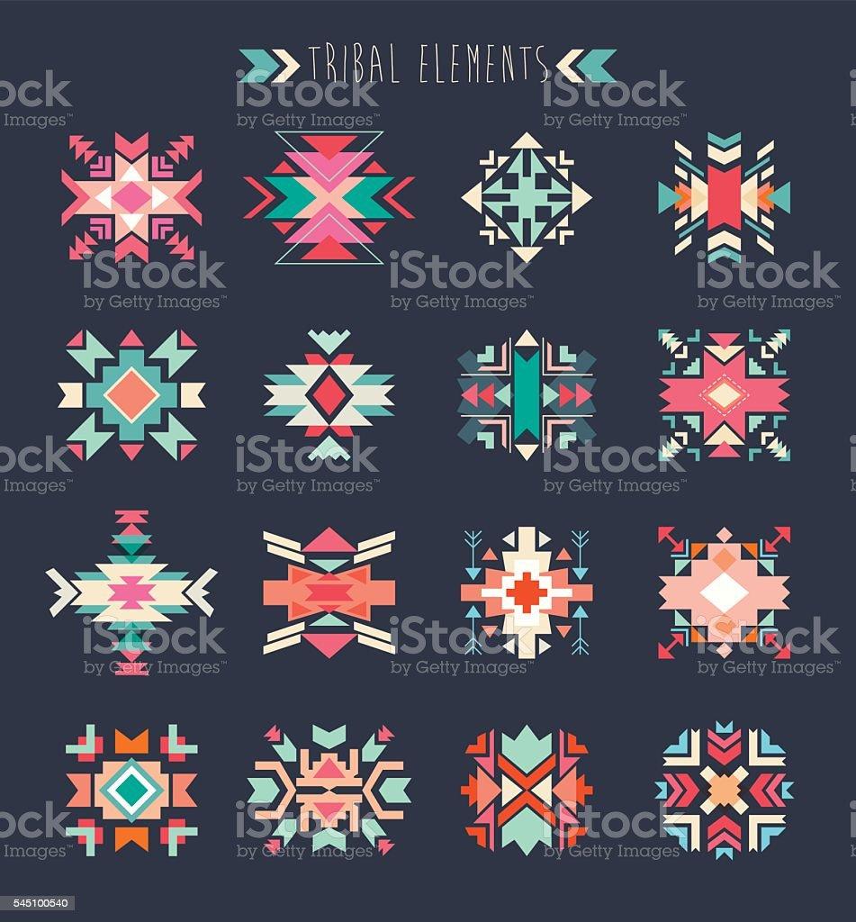 Tribal conjunto de elementos - ilustración de arte vectorial