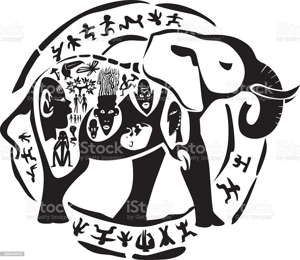Tribal elephant tattoo vector art illustration