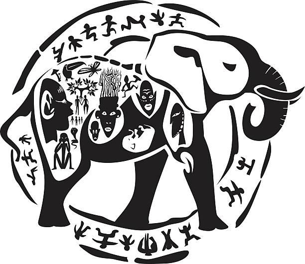 Tribal elephant tattoo vector art illustration