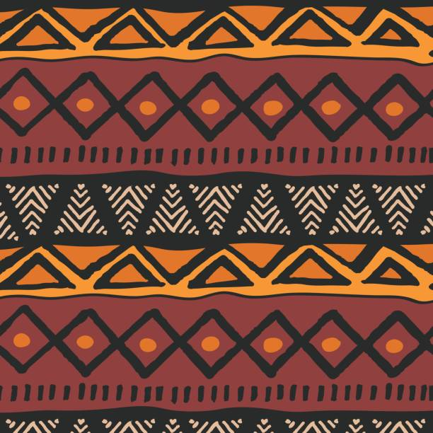 Tribal ethnic colorful bohemian pattern with geometric elements, African mud cloth, tribal design, vector illustration vector art illustration