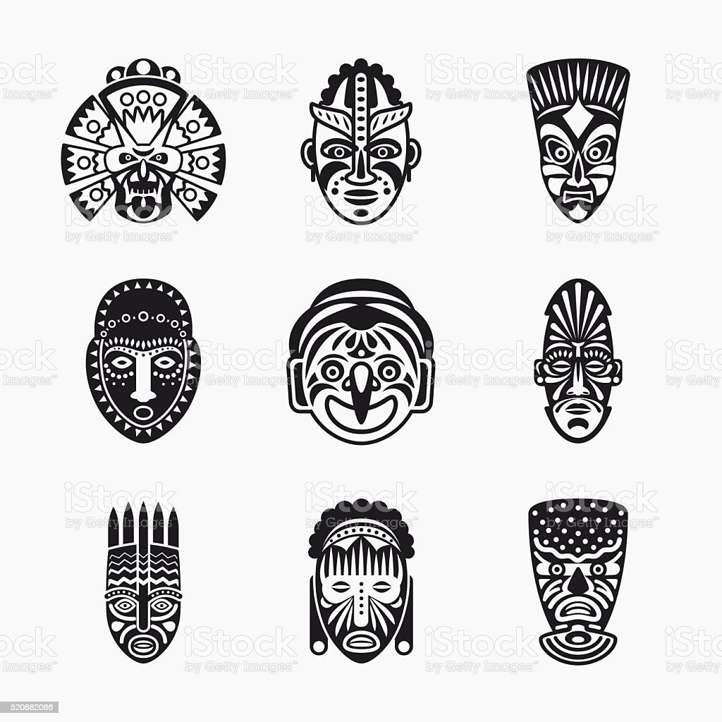 Tribal, ethnic mask icons vector art illustration
