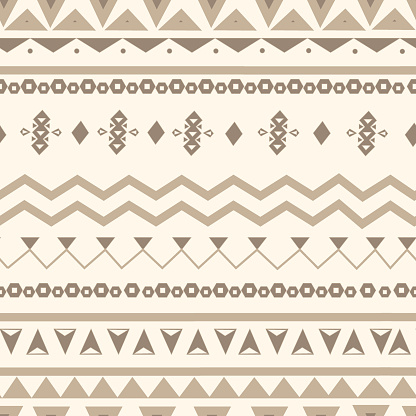 Tribal ethnic seamless pattern. Vector tribal figures in Aztec style. Geometric and aztec decor  background.  Design in boho style for printing on textile or paper.
