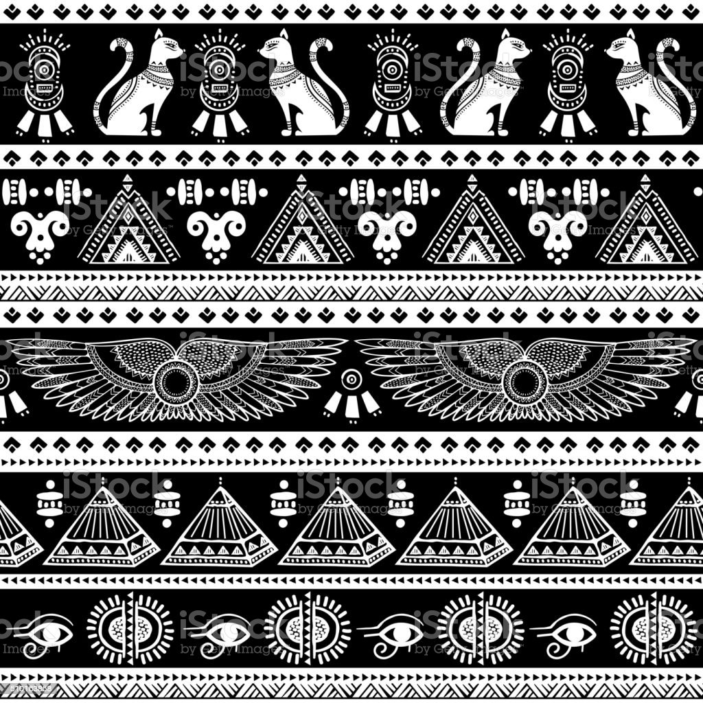 Tribal ethnic seamless pattern with Egypt symbols vector art illustration