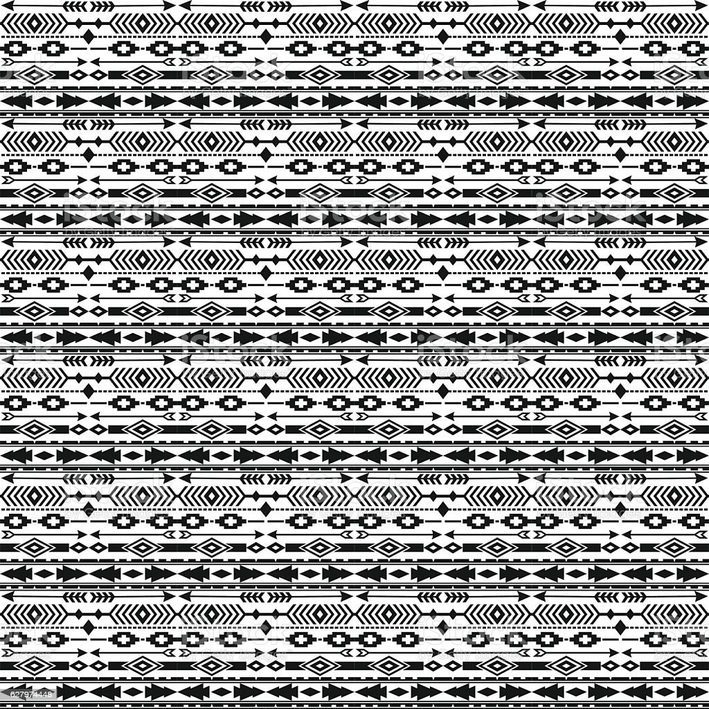 Tribal ethnic seamless pattern with geometric elements. vector art illustration