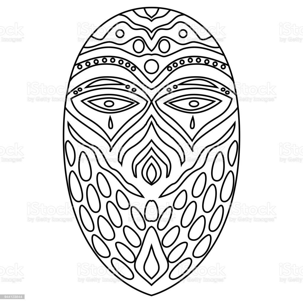 Aşiret Ethnik Maskesi Resimde Beyaz Arka Plan üzerinde Boyama Stok