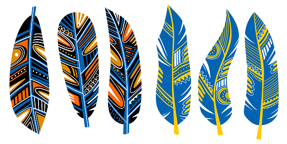 Tribal feather. Collection of feathers for decoration. Print for clothes, retro business cards, picture banner for websites. Vintage decorative elements. Hand colorful painting vector illustration