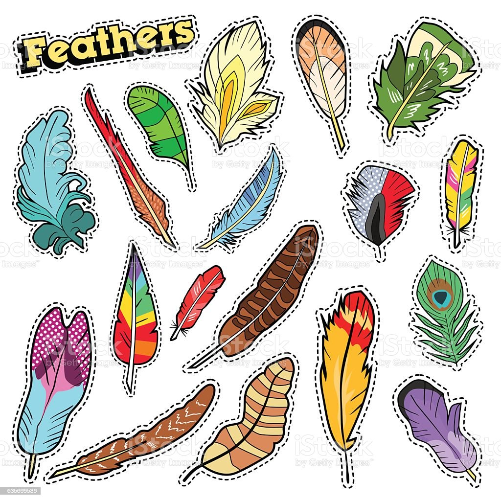 Tribal Feathers Decorative Elements for Scrapbook, Stickers, Patches, Badges royalty-free tribal feathers decorative elements for scrapbook stickers patches badges stock vector art & more images of abstract