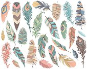 Hand drawn colorful tribal feathers.