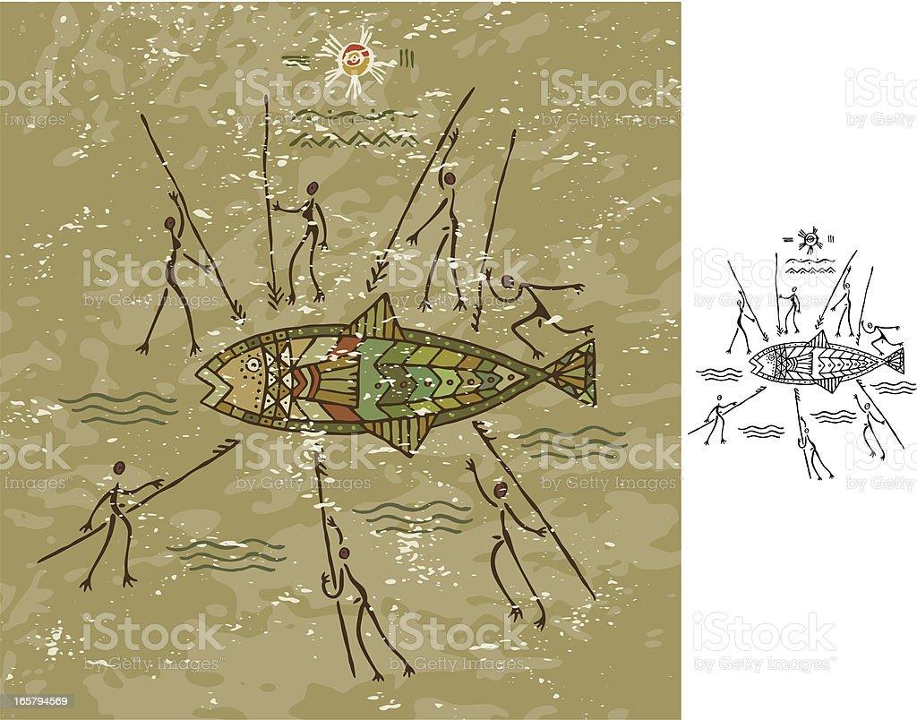 Tribal Fish Hunt vector art illustration