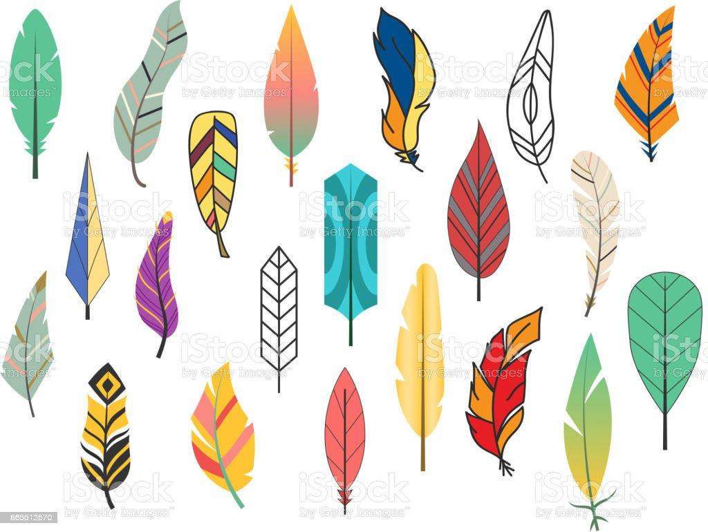 Vektör çizim Boyama Kabile Düz Tüy Farklı Stil Kuş Vintage Renkli