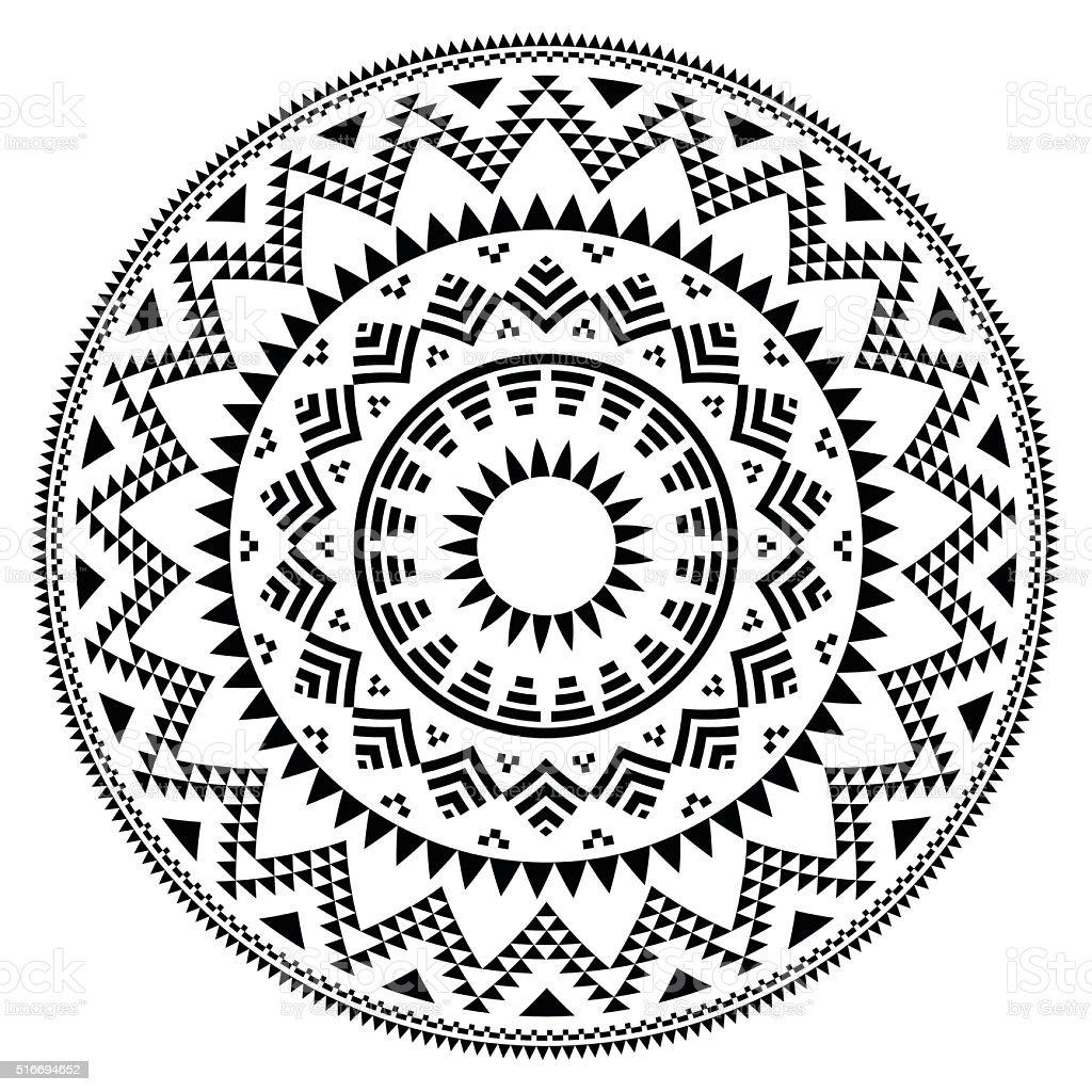 Tribal Folk patrón geométrico en la rotonda Azteca - ilustración de arte vectorial