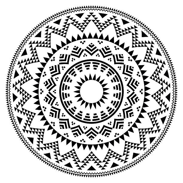 tribal folk aztec geometric pattern in circle - tribal pattern stock illustrations, clip art, cartoons, & icons