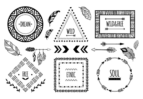 Tribal frames. American Indian ethnic frame, bohemian Aztec tattoo or tribal fashion border isolated vector illustration