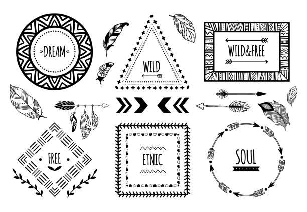 stockillustraties, clipart, cartoons en iconen met tribal frames. american indian etnische frame, boheemse azteekse tatoeage tribal mode rand of geïsoleerd vectorillustratie - boho