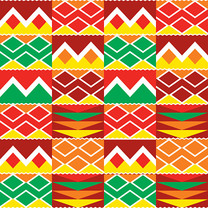 Tribal geometric seamless pattern, African Kente nwentoma cloth style vector textile design