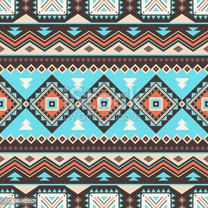 Tribal striped seamless pattern. Aztec geometric vector background. Can be used in textile design, web design for making of clothes, accessories, decorative paper, wrapping, envelope; backpacks, etc.