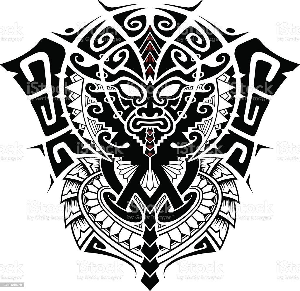 tribal god mask vector art illustration