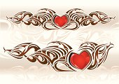 Tatoo-styled design - heart with decorations, vector artwork