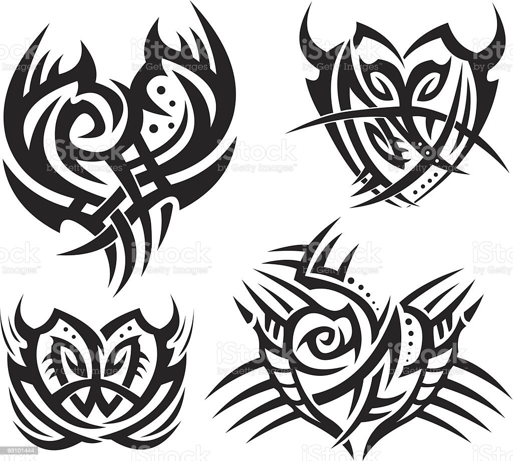 Tribal hearts and shields royalty-free tribal hearts and shields stock vector art & more images of collection