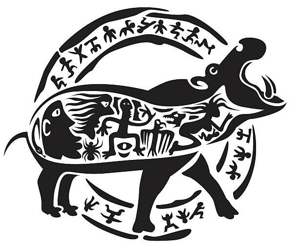Tribal hippo tattoo vector art illustration