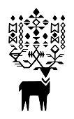 Tribal Horns Deer Black And White. An original artwork vector illustration of deer.This inspirational flat design can be a logo, postcard, invitation, web banner, shop window, invitation, poster or flyer.