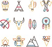 Vector tribal colorful icon set in flat simple line style, indian native american culture