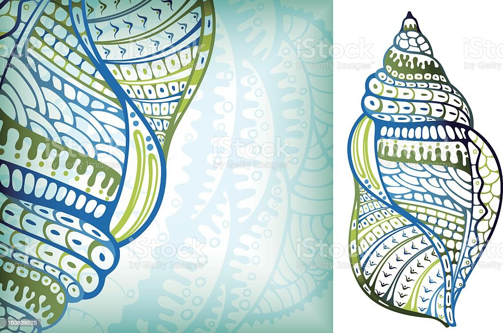 Tribal illustration outline of a seashell in green and blue vector art illustration
