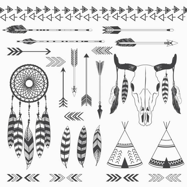 Tribal Indian Collections A vector illustration of Tribal Indian Collections. ( with dreamcather, teepee tents, arrow, feathers, antler, aztec borders ) Perfect for tribal theme, holiday, wedding, invitation, greeting card and many more. teepee stock illustrations