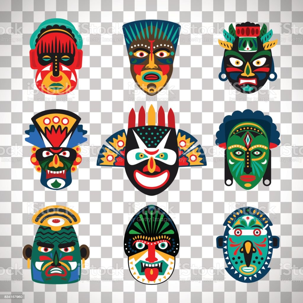 Tribal indian or african colorful masks vector art illustration