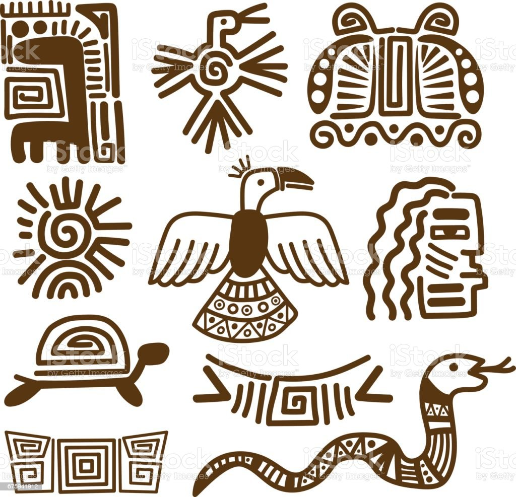 Tribal indian patterns or mexican symbols vector art illustration
