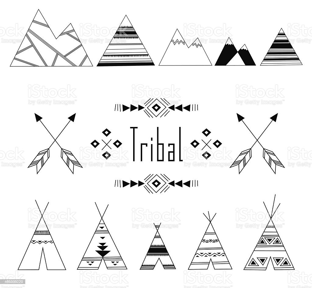 Tribal Indian set vector art illustration