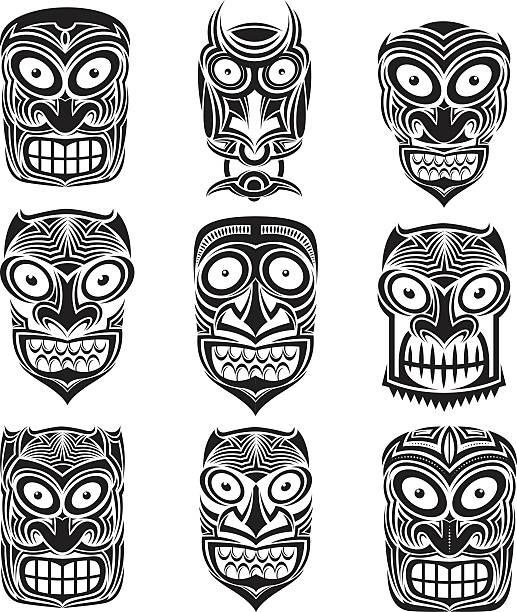 Silhouette Of Totem Pole Faces Stock Photos, Pictures