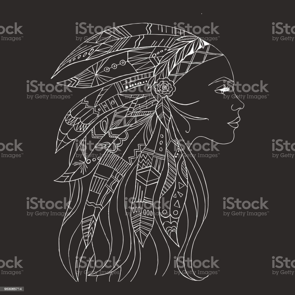 Tribal Indian Woman Tattoo And Tshirt Design Native American Woman
