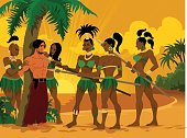 A tribe of savage amazons captured a lost pirate.