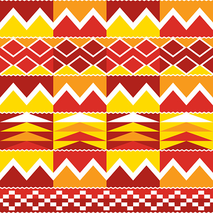 Tribal Kente geometric seamless pattern, African nwentoma cloth style vector design perfect for fabrics and textiles