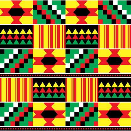 Tribal Kente mud cloth style vector seamless textile pattern, African traditional geometric nwentoma design - rasta colors
