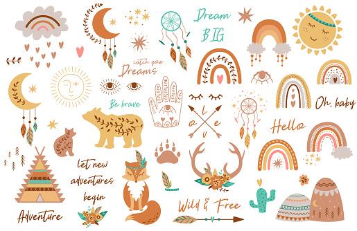 Tribal kids set elements. Boho teepee, rainbow, arrow, moon, sun, boho animals, dream catcher, deer horns baby vector