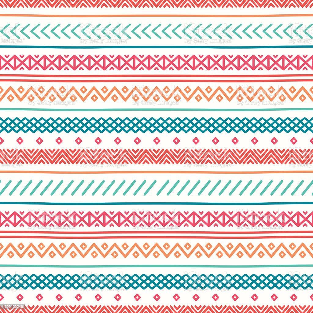 Tribal Line Geometric Mexican Ethnic Seamless Pattern