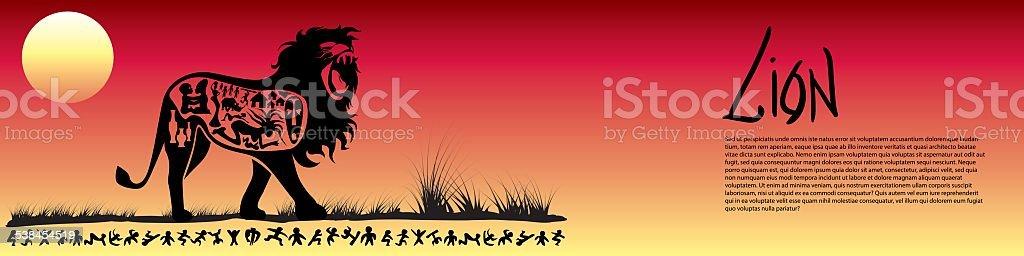 Tribal lion banner vector art illustration