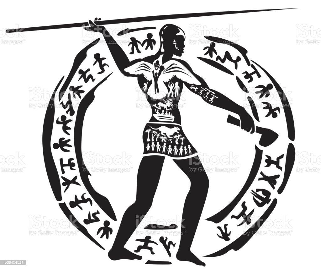 Tribal man tattoo vector art illustration