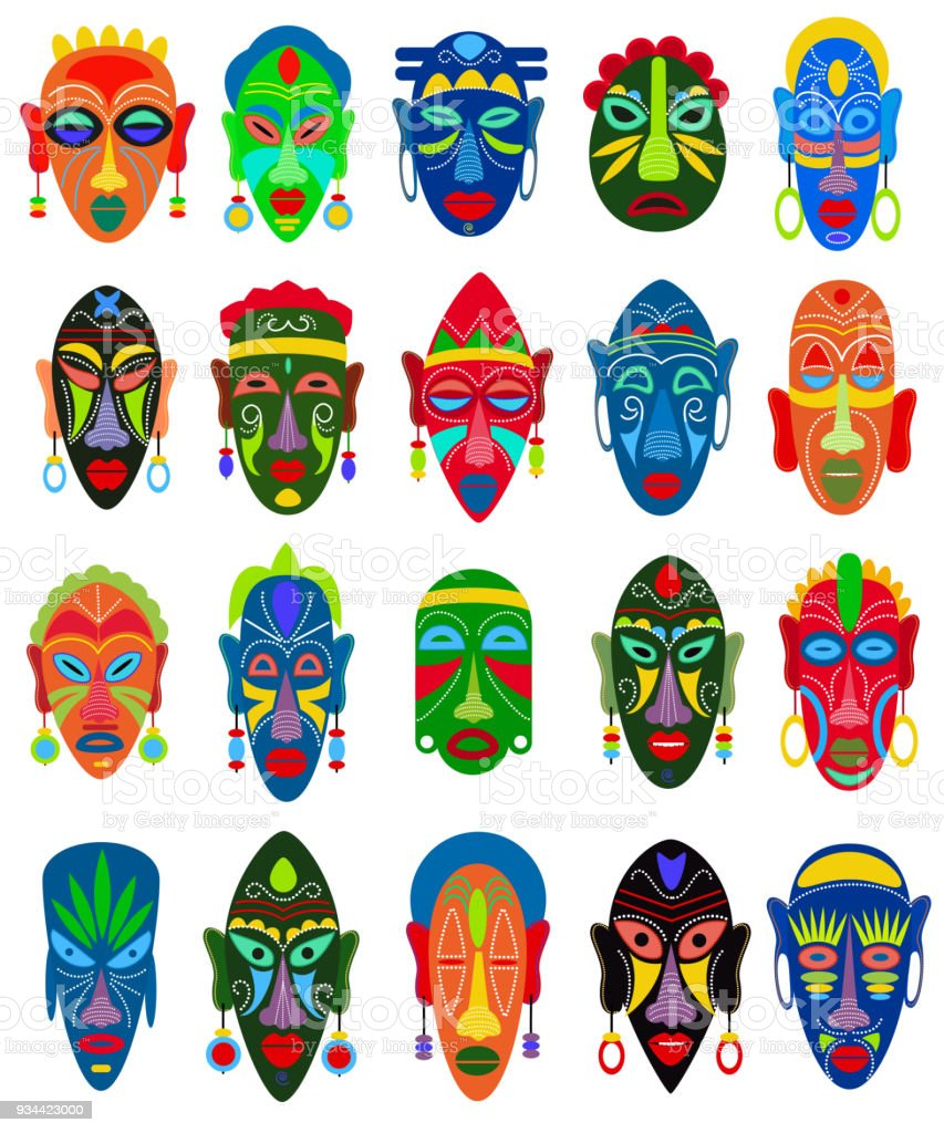 Tribal mask vector African face masque and masking ethnic culture in Africa illustration set of traditional masked symbol isolated on white background vector art illustration
