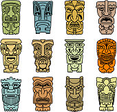 Tribal masks of idols and demons for religious or ethnic design