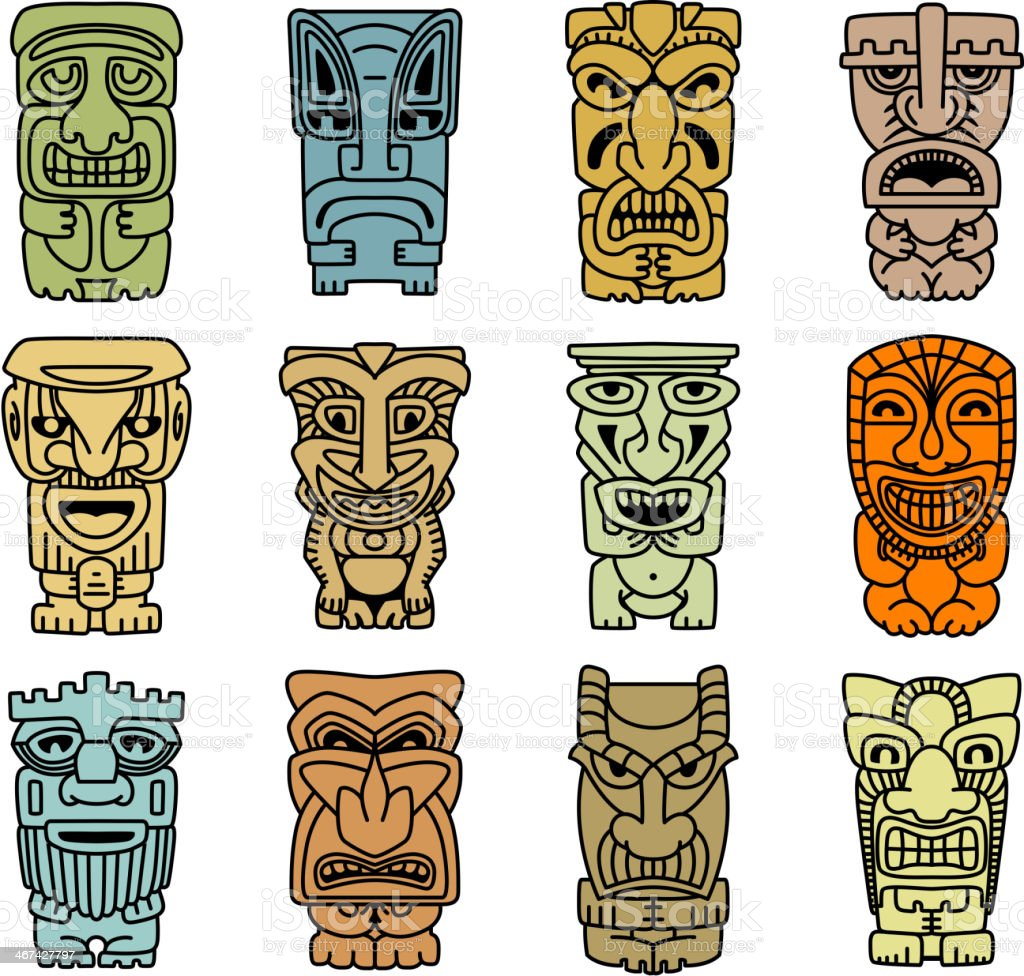 Tribal masks of idols and demons vector art illustration