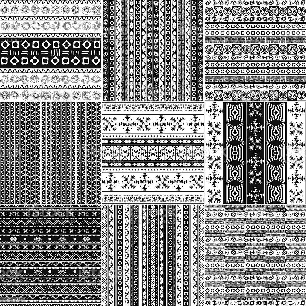 Tribal motif monochrome set royalty-free stock vector art